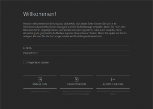 Login Screen der Web-App